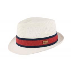 Chapeau de paille blanc et rouge Gio Herman