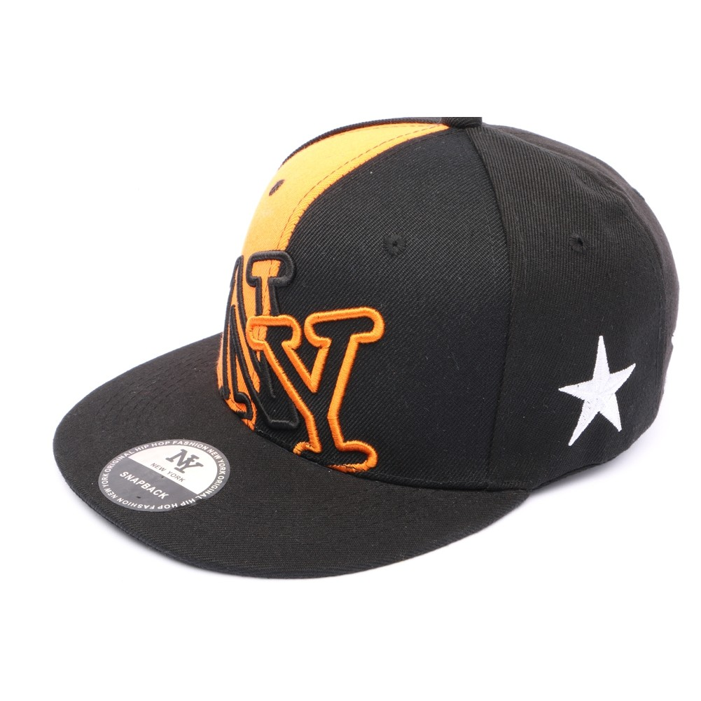 snapback ny noir et orange achat et vente priceminister rakuten. Black Bedroom Furniture Sets. Home Design Ideas