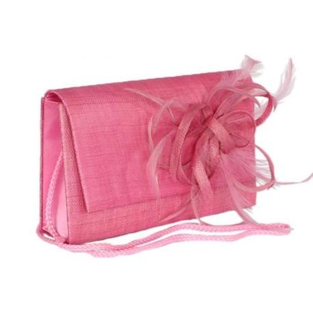 Pochette Mariage Falbala Sisal rose avec fleur rose