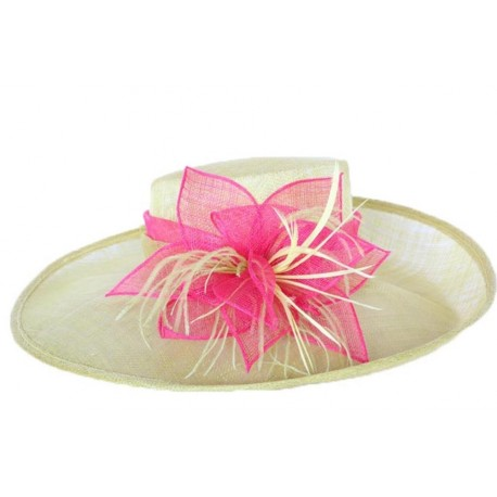 Chapeau cérémonie Dahlia en sisal jaune et rose