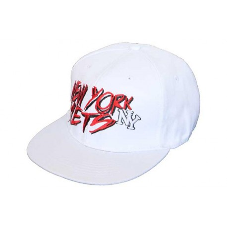 Casquette NY fitted blanche et rouge