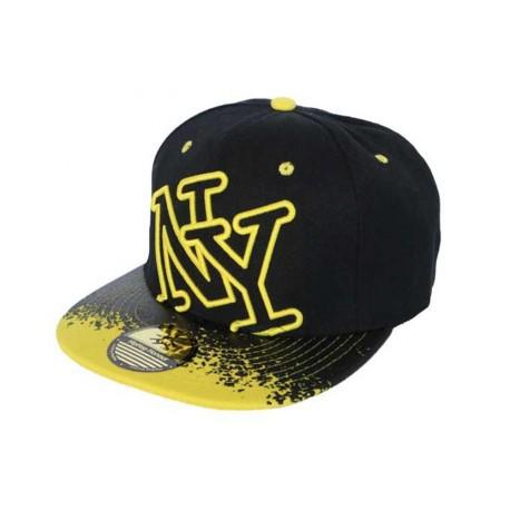 Snapback  NY Noire jaune façon tag