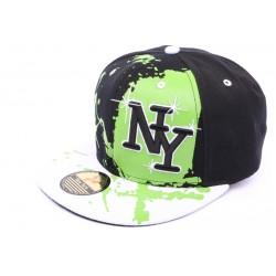 Casquette Snapback Ny Noir vert et blanc