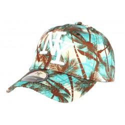 casquette baseball enfant bleu et marron Tropical 7 à 12 ans