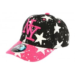 casquette baseball enfant rose et noir Etoile 7 a 12 ans