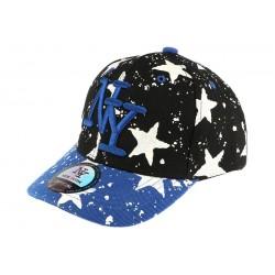 casquette baseball enfant bleu et noir Etoile 7 a 12 ans
