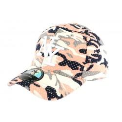 Casquette baseball enfant camouflage rose Kolt 7 a 12 ans
