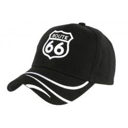 Casquette Baseball Route 66 Noire et blanche
