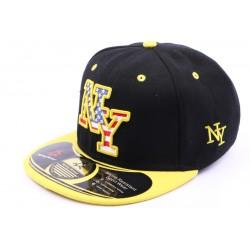Casquette snapback  NY noir visère jaune