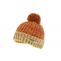 Bonnet pompon rouge et jaune Solin Herman