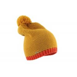 Bonnet pompon long jaune laine Watin Herman