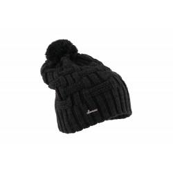 Bonnet pompon noir en laine Herman