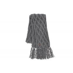 Echarpe grise en laine torsades et franges Herman