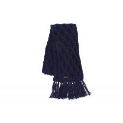 Echarpe marine en laine torsades et franges Herman