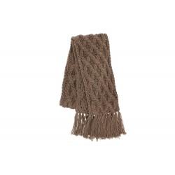 Echarpe Marron en laine torsades et franges Herman