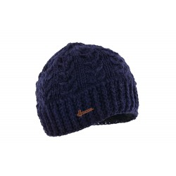 Bonnet court bleu marine en laine Alkin Herman