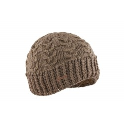 Bonnet court marron taupe en laine Alkin Herman
