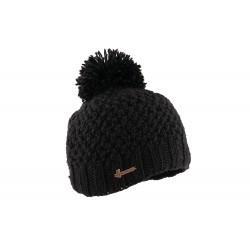 Bonnet pompon noir laine Sylin Herman
