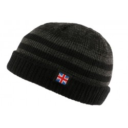 Bonnet court noir et gris drapeau UK par Nyls Creation