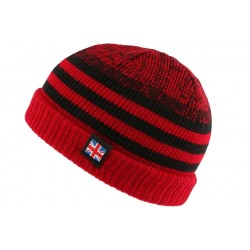 Bonnet court rouge et noir drapeau UK par Nyls Creation