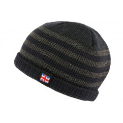 Bonnet court bleu et gris drapeau UK par Nyls Creation