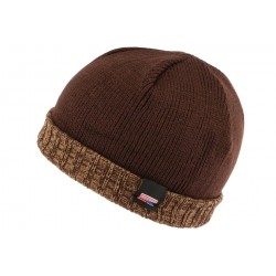 Bonnet docker marron drapeau USA Nyls Creation