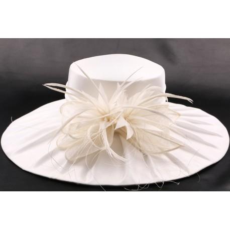 Chapeau mariée Hermine en taffetas écru