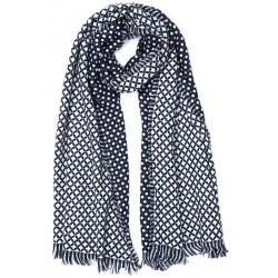 Grande echarpe bleu et blanche en laine Klyn