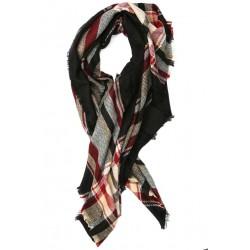 Grande écharpe noire et rouge en laine Salya