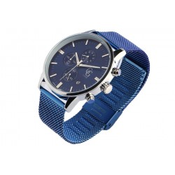 Montre chronographe bleue homme maille milanaise Astor