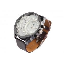 Grande montre double fuseau horaire marron Fortex