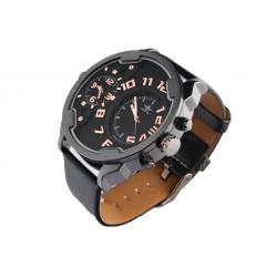 Grosse montre noire double fuseau horaire Fortex