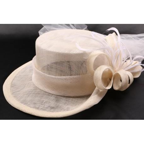 Chapeau mariée Stella en sisal écru + voile