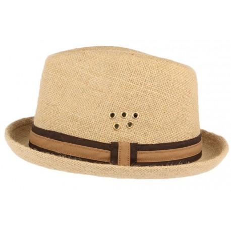 Chapeau-Porkpie-en-lin-beige-ceinture-marron-Hackman