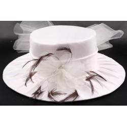 Chapeau mariée Lulla en taffetas Ecru et marron