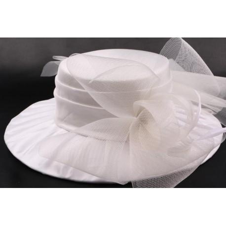 Chapeau mariée Muse en taffetas écru
