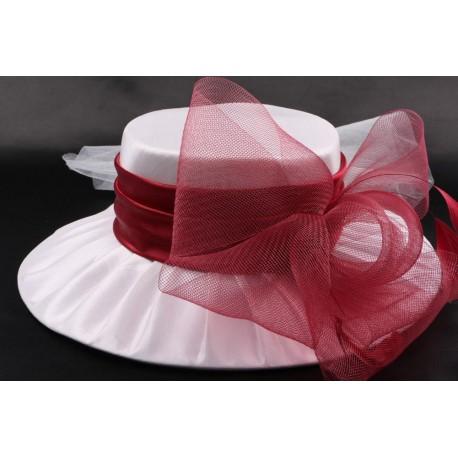 Chapeau mariée Muse en taffetas écru et bordeaux