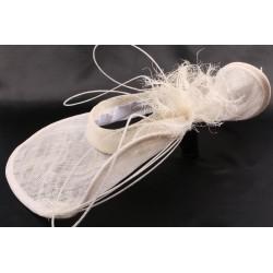 Chapeau mariée laido en sisal blanchi