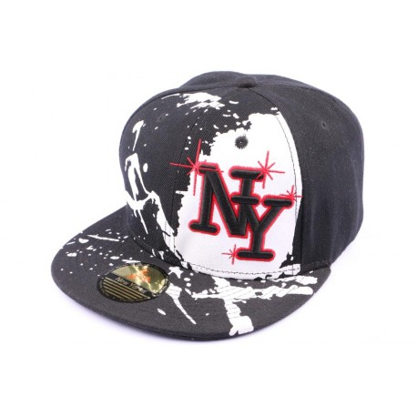 Casquette Snapback NY noire blanche rouge street art