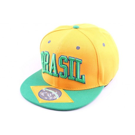 Casquette Snapback Brésil Verte et jaune, Brasil
