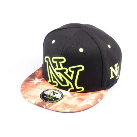 Casquette Snapback New York Noire, NY Jaune et Visière Bariolée style Urban Wear