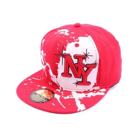 Casquette Snapback NY Rouge et blanche façon Tag