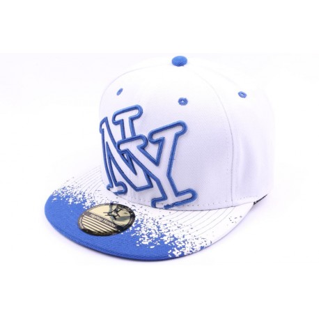 Casquette Snapback NY blanche et bleu tag