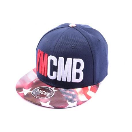 Casquette Snapback YMCMB bleu façon drapeau US