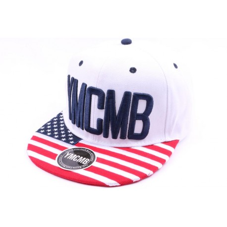 Casquette Snapback YMCMB Blanche avec drapeau USA