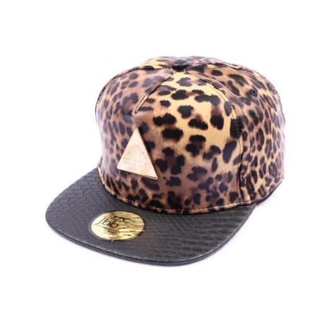 Casquette Snapback JBB couture leopard visière noir