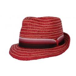 Nyls création chapeau de paille Asley rouge