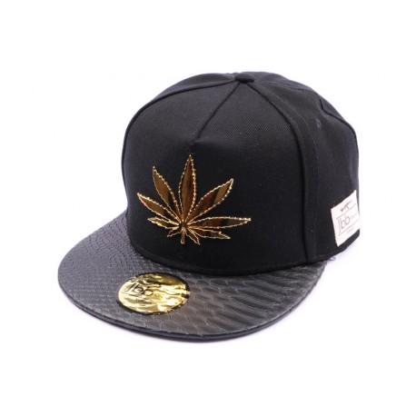 Casquette Snapback Jbb couture Noir Cannabis