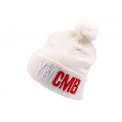 Bonnet YMCMB blanc avec pompon