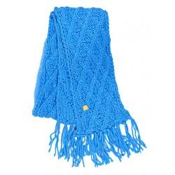 Echarpe Trict losanges unie + Franges Turquoise